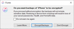 itunes no passwords backup warning message