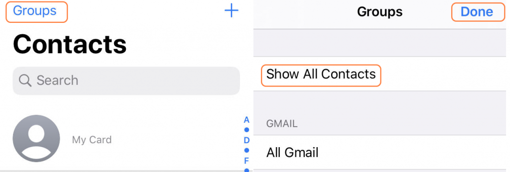 Show all Contacts via Group
