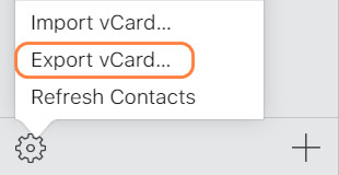 exports contacts vCard on iCloud