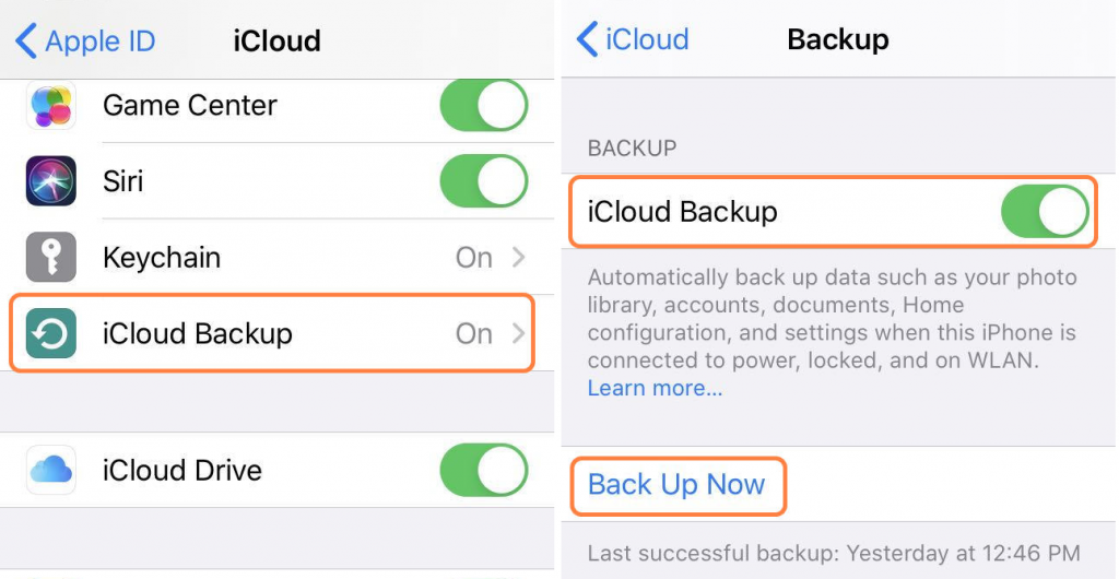 Backup safari bookmarks right now via icloud back up now