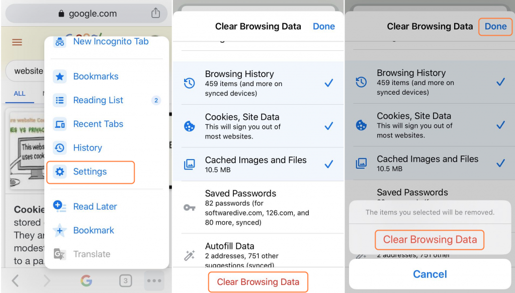 remove Chrome browsing history, cookies and caches