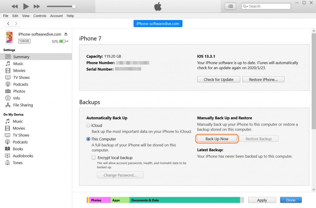 backup via iTunes
