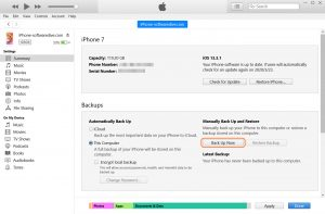 backup iPhone photos via iTunes on PC