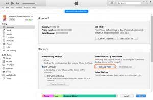 backup iPhone photos via iTunes on PC