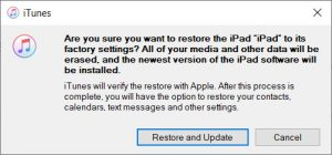 confirm restore and update ipad to factory settings