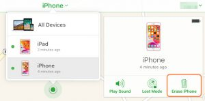erase iPhone ipad via find my iPhone