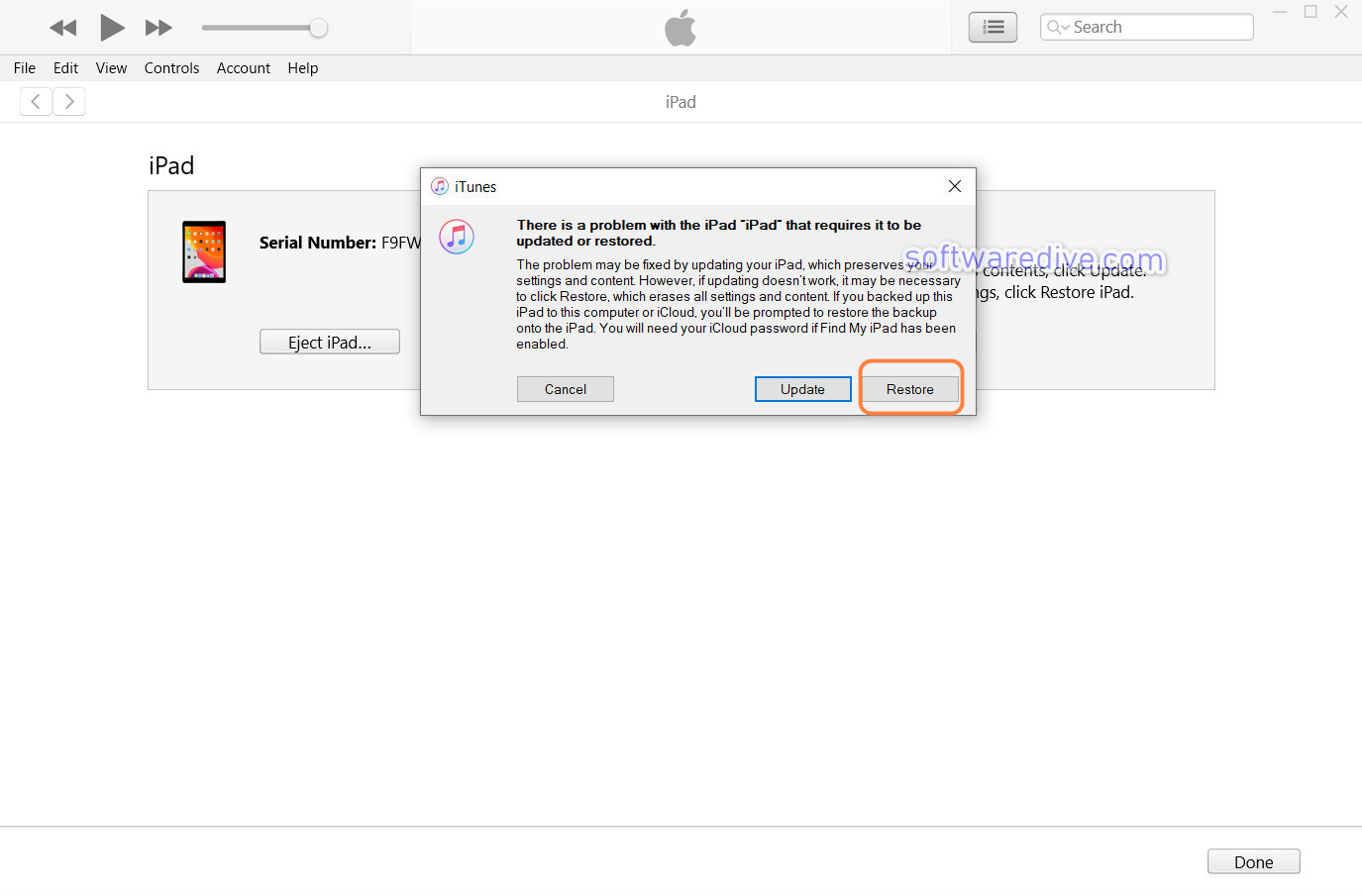 iPad requires to be restored itunes