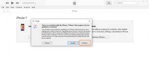 restore disabled iPhone/iPad with iTunes