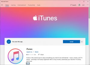 Download and install the latest iTunes via Microsoft Store
