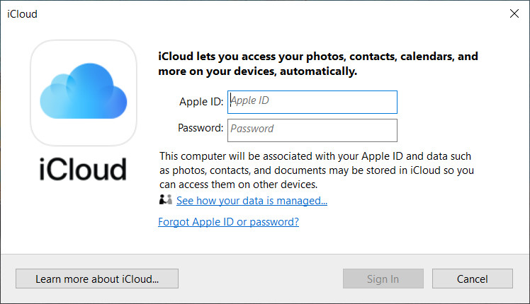 Enter your iCloud account