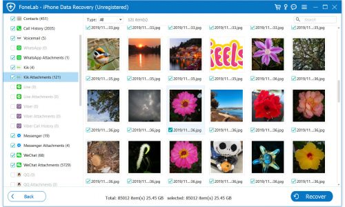 scan results to recover iPhone photos