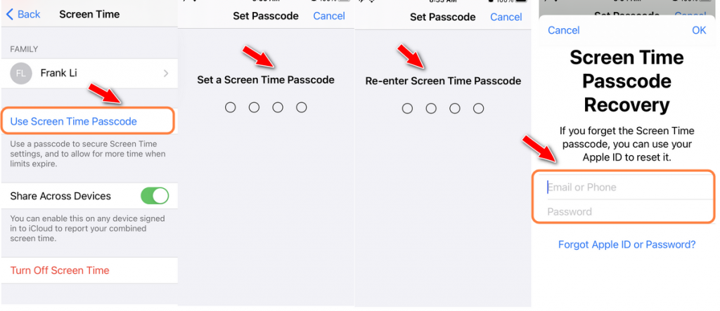 set up screen time password with apple id & passcode