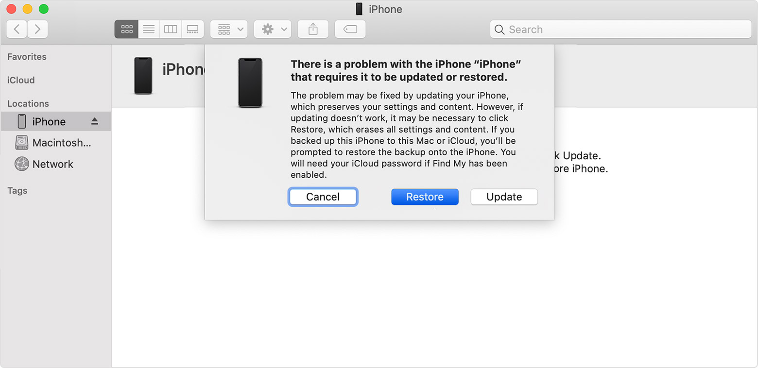 recovery mode restore with Finder or iTunes
