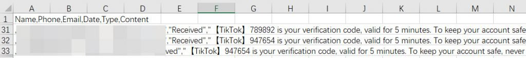 view messages as .csv format