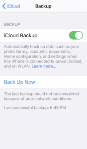iCloud backup failed for poor network conditions