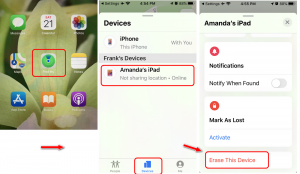erase disabled iPhone iPad from Find My app