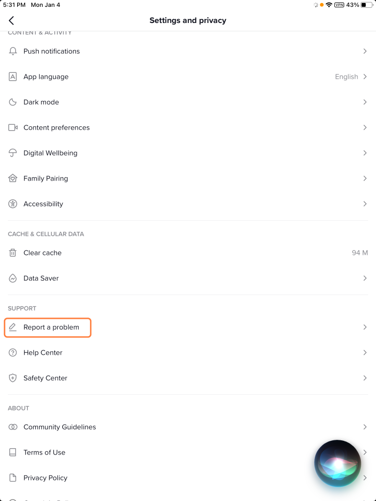 frogot Tiktok screen time password- Report a problem