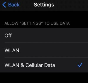 can't sign out of Apple id fix - Enable WLAN and Cellular Data for Settings