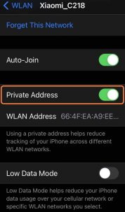 turn off private address to fix the iPhone won't connect to WiFi problem