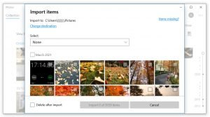 transfer iPhone 12 photos to PC via photos app -select photos and folders