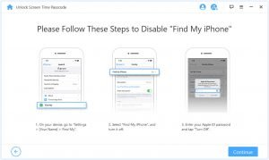 Steps to disable find my iPhone