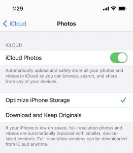 optimize iPhone storage-iCloud Photos