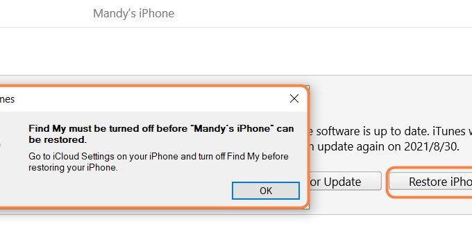 Can't Turn Off Find My Iphone To Restore Fix